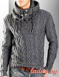 0b55377d7 This looks soooooo comfy! MADE TO ORDER Sweater aran men hand knitted  sweater snood cardigan pullover men clothing handmade