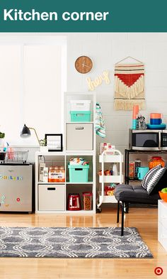 Every inch of space counts in a dorm room. Maximize that space by using a variety of storage items, like wire racks, cube shelving, storage carts, bins and crates with lids. They're sturdy and are perfect for organizing your room. TIP: 3M Command Hooks are your new BFF for hanging everything from wall art to towels.