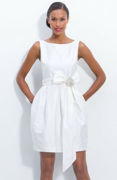 ELIZA J Jeweled Sleeveless Satin Tulip Dress Ivory $160 FREE WORLD SHIPPING...AUTHENTIC DESIGNER BRANDS * BEST PRICES ANYWHERE! OVER 800 BEAUTIFUL ITEMS ON OUR WEBSITE!
