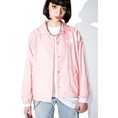 Obey Caviar Coaches Jacket ($62) ❤ liked on Polyvore featuring outerwear, jackets, nylon coaches jacket, obey clothing, pink jacket, nylon jacket and raglan jacket