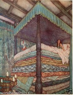 EDMUND DULAC PRINT THE PRINCESS AND THE PEA FAIRYTALE HANS CHRISTIAN ANDERSON