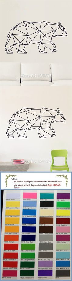Geometric Animals Vinyl Bear Wall Stickers Home Decor For Wall Decoration A Variety Of Colors To Choose From Kids Wall Decals $9.99