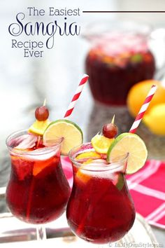 The best and easiest to make Sangria recipes.  One you make from scratch, the other you pour from a bottle  :-)   { InMyOwnStyle.com}