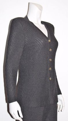 ST. JOHN Collection by Marie Gray Charcoal Gray Button Down Knit Pant Suit Sz 8 #STJOHN #PantSuit #Career