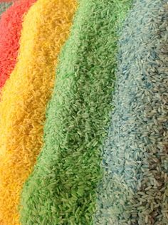 Make colored rice in two easy steps- great for sensory tables or preschool art project