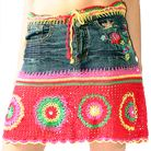 jean skirt with crochet trim and embroidery