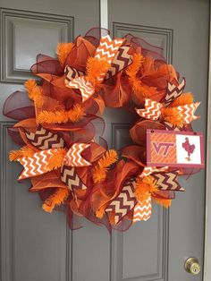 Virginia Tech Hokies Deco Mesh Wreath by BeautifulMesh on Etsy