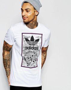 Image 1 of adidas Originals T-Shirt With Print Adidas Originals Tshirts, White Adidas Originals, Order T Shirts, How To Make Tshirts, Mens Fashion, Boy Fashion, Fashion Games, Fashion Clothes, Models
