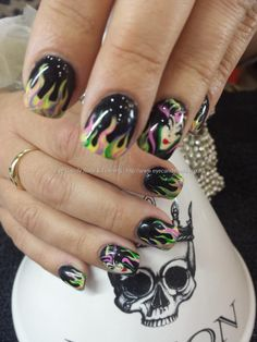 Malifacent and flames halloween freehand nail art