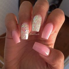 nailsbysab - pink mani with glitter accent nails #pinknails #glitternails