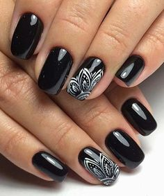 Impressive Black Dye Nail Art Designs