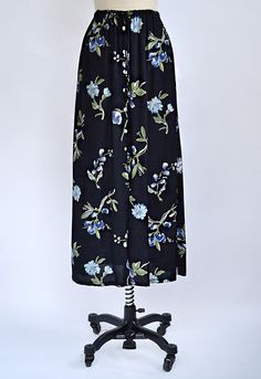 vintage 1970s blue floral maxi skirt