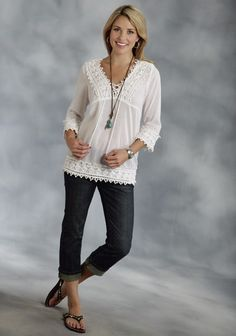 Roper® Women's White Cotton Voile 3/4 Sleeve Western Peasant Top