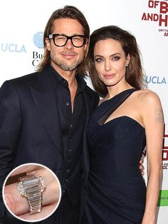 Angelina Jolie & Brad Pitt: Brad helped design the ring with jeweler Robert Procop: a tablet-shaped diamond engagement ring estimated at a 16-carats worth an estimated $500,000.   (04.28.14)