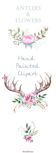 Hand drawn clip art flowers and stag horns - Romantique Horns.  Watercolour elements, transparent, digital png, printable