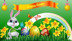 Wielkanoc, Zajączek, Pisanki, Żonkile, Tęcza, Napis, Happy Easter