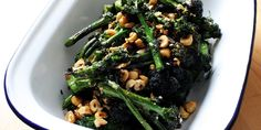 This purple sprouting broccoli recipe from Josh Eggleton features the contrasting textures of cooked broccoli with crunchy hazelnuts in a flavourful side dish.