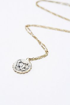 Cat Dome Pendant in Gold - Urban Outfitters