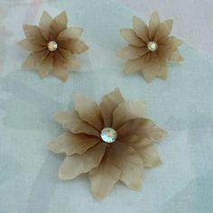 Brown Floral Demi w AB Rhinestones Brooch Earrings Set Vintage Jewelry
