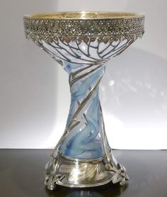 Russian Silver & Crystal Vase, Classic  Art Nouveau Style.