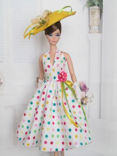 Halter Dress For Silkstone Doll, Reproduction Barbie By Kunchris Play Barbie, Barbie I, Barbie World, Barbie Dress, Barbie And Ken, Barbie Gowns, Barbie Style, Doll Dresses, Vintage Barbie