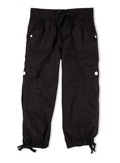 Girls 7-12 Poplin Cargo Pants with Drawstring Waist and Hems