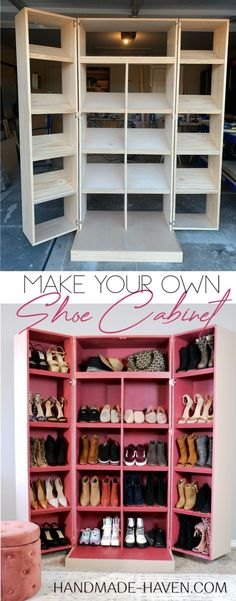How To build a DIY Shoe Cabinet. Plans and tutorial. #shoecabinet #shoestorage