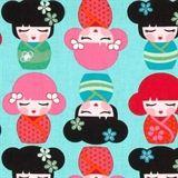 Hello Tokyo Japanese Kimmidolls on Aqua Cotton Fabric