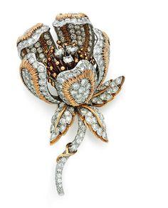 A diamond and gold brooch, by David Webb