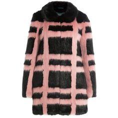 Shrimps Plaid Faux Fur Coat ($920) ❤ liked on Polyvore featuring outerwear, coats, stripes, plaid coat, imitation fur coats, fake fur coat, long sleeve coat and striped coat