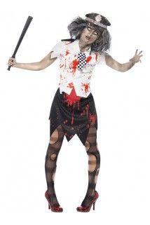 Déguisement zombie policière femme