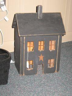 Primitive Salt Box Lighted House by BonpasPrimitives on Etsy