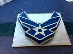 Sculpted United States Air Force Groom's cake in navy blue and white. Paul Cakes, Military Retirement Parties, Air Force Wedding, Military Cake, Air Force Academy, Air Force Mom, Pastry Cake, Cake Decorating Tips, Occasion Cakes