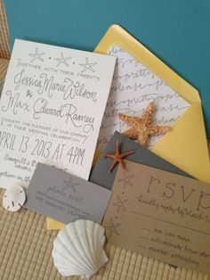 love the font combinations | Beach Shore Destination Wedding Invitation Suite Calligraphy