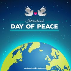 Realistic world and sky with doves Free Vector