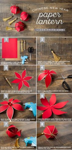 Lanterne en papier bricolage du nouvel an chinois – Lia Griffith – Origami Community : Explore the best and the most trending origami Ideas and easy origami Tutorial New Year's Crafts, Diy And Crafts, Kids Crafts, Arts And Crafts, Kids Diy, Decor Crafts, Easy Crafts, Easy Diy, Chinese New Year Decorations