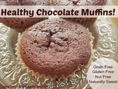 Healthy Chocolate Muffins! These muffins are so delicious, light and fluffy. Grain free, gluten free, nut free and naturally sweetened.