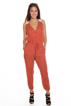 Statement Style Button Up Crochet Back Capri Jumpsuit - Rust from Toxik3 at Lucky 21