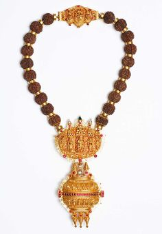 Gold And Rudraksha Priests Necklace Tamil Nadu India 19th Century Length: 47cm - Jewellery. SOLD