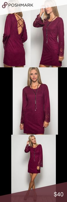 """Criss Cross Suede Bell Sleeve Dress - Wine We are obsessed with this dress!!  Long sleeve suede shift dress with laser cutout details on the sleeves and a criss-cross back.  This wine color is perfect for fall!  Model is 5'9"""". Boutique Dresses Mini"""