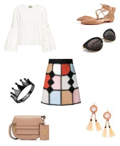 """crochet skirt"" by bethanyyk on Polyvore featuring Loveless, Sea, New York, Christian Louboutin, Valentino and Panacea"