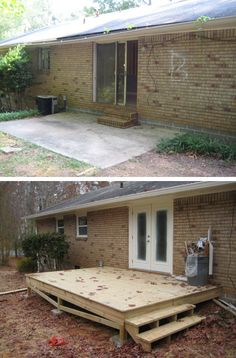 Remove concrete patio.  Replace with deck that extends across back of home to kitchen door.