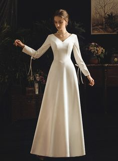 A-Line White Satin V-neck Long Sleeve Backless Wedding Dress With Bow Western Wedding Dresses, Long Wedding Dresses, Long Sleeve Wedding, Bridal Dresses, Wedding Gowns, A Line Dress Wedding, Dresses Dresses, Dress With Bow, Lace Dress