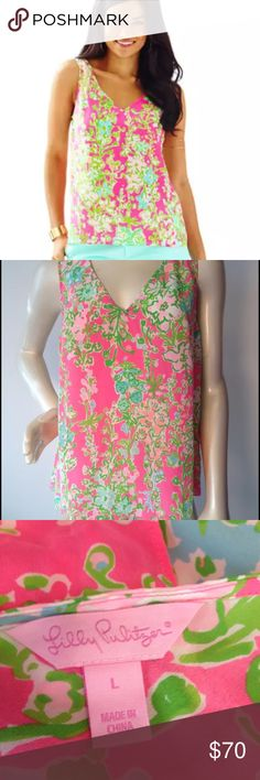 Lilly Pulitzer southern charm tank! EEuc Lilly Cipriani tank in pink flamingo southern charm. No flaws at all that I can see. 100% silk. A gorgeous top just a bit snug for my girls! Just trying to get back what I paid Lilly Pulitzer Tops