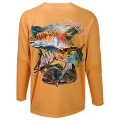 World Wide Sportsman Saltwater Printed Papaya Redfish Long-Sleeve Shirt for Men - Papaya Redfish - L