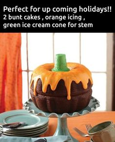 2 bundt cakes, orange icing and a green ice cream cone for a stem. How adorable is this? 2 bundt cakes, orange icing and a green ice cream cone for a stem. How adorable is this? Halloween Desserts, Halloween Torte, Pasteles Halloween, Bolo Halloween, Halloween Goodies, Halloween Calabaza, Halloween Baking, Halloween Potluck Ideas, Halloween Chocolate