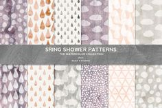 Spring Shower Watercolor Patterns by Blixa 6 Studios on Creative Market
