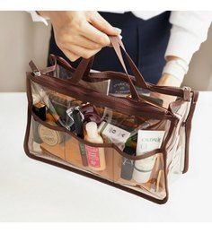 Transparent Bag in Bag Organizer in Choice of Colour for AED 35 Diy Purse Organizer, Purse Organization, Organizers, Bag In Bag, Purse Hanger, Transparent Bag, Clear Bags, Large Purses, Brown Purses