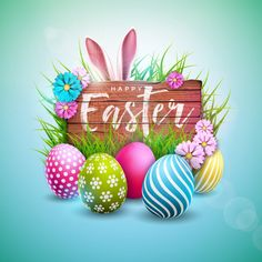 Buy Happy Easter Holiday Design with Painted Egg by articular on GraphicRiver. Happy Easter Holiday Design with Painted Egg, Flower and Rabbit Ears on Vintage Wood Background. Happy Easter Wishes, Happy Easter Sunday, Happy Easter Everyone, Easter Weekend, Egg Vector, Vector File, Easter Quotes, Enjoy The Little Things, Easter Pictures