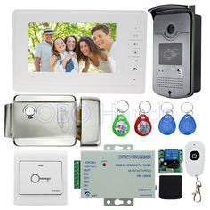 (146.99$)  Buy here  - 7'' wired video door phone kit set with RFID IR outdoor camera video doorbell+EM lock+power supply for intercom system on sale